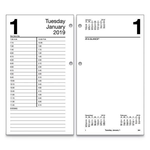 AT-A-GLANCE Large Desk Calendar Refill, 4 1/2 x 8, White, 2019
