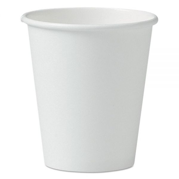 Dart Single-Sided Poly Paper Hot Cups, 6oz, White, 50/Pack, 20 Packs/Carton