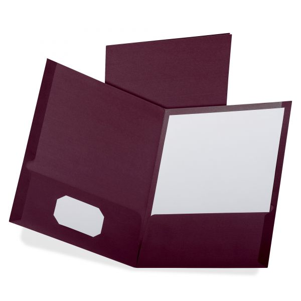 Oxford Burgundy Two Pocket Folders