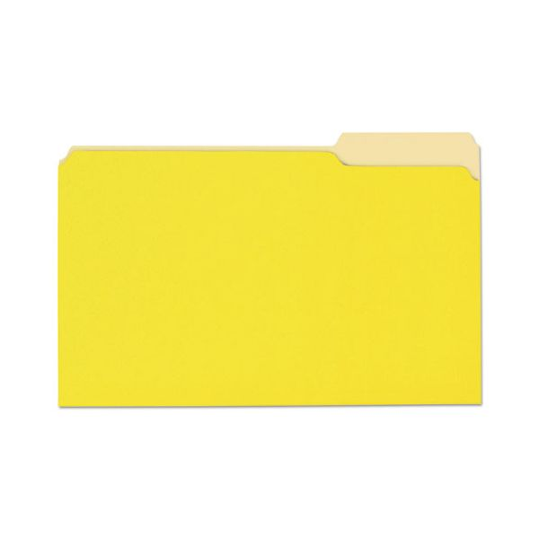 Universal File Folders, 1/3 Cut One-Ply Top Tab, Legal, Yellow/Light Yellow, 100/Box