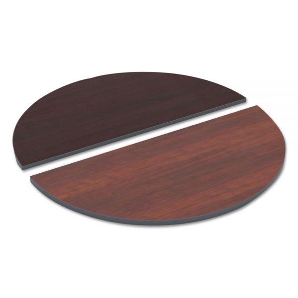 Alera Reversible Laminate Table Top, Half Round, 48w x 24d, Medium Cherry/Mahogany
