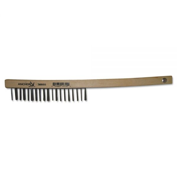 Anchor Brand Hand Scratch Brush, Curved, Carbon Steel Shoe, Wood Handle