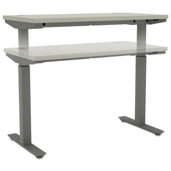 "HON basyx by HON Height Adjustable Table Base | 2 Stage Columns | 24""D Feet"
