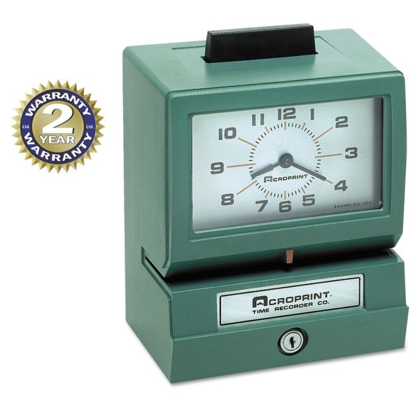 Acroprint Model 125 Analog Manual Print Time Clock with Month/Date/0-12 Hours/Minutes