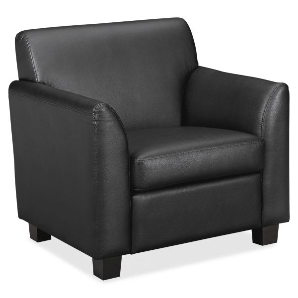 basyx VL870 Series Tailored Black Leather Club Chair