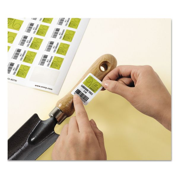 Avery Removable Durable White Rectangle Labels, 1 1/4 x 1 3/4, Glossy, 256/PK