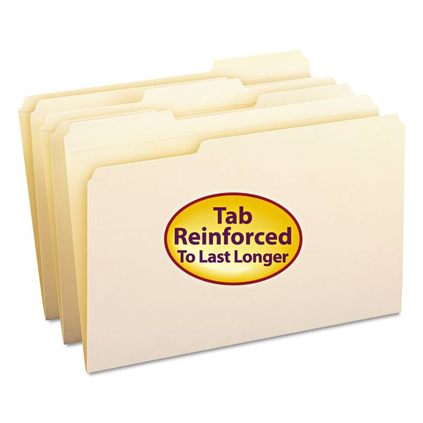 Smead File Folders, 1/3 Cut Assorted, Reinforced Top Tab, Legal, Manila, 100/Box