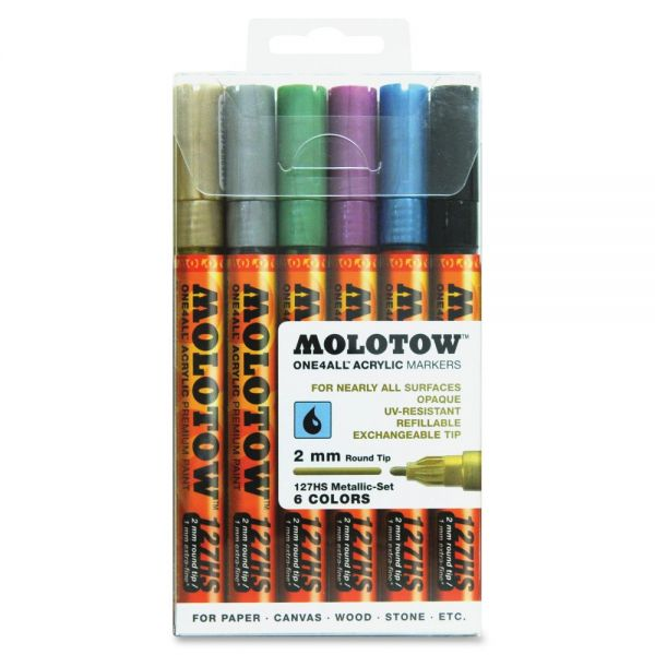 MOLOTOW One4All 2mm Acrylic Markers Metallic Set