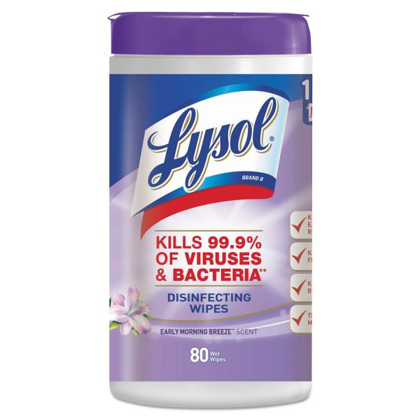 LYSOL Brand Disinfecting Wipes, Early Morning Breeze, 7 x 8, 80/Canister