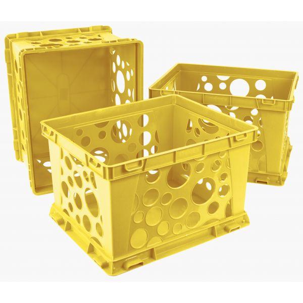Storex Mini crate, School Yellow, (Case of 3)
