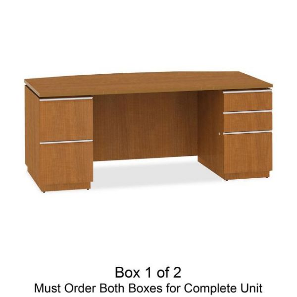 bbf Milano 2 Series Bow Front Pedestal Desk by Bush Furniture *Box 1 of 2