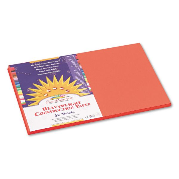 SunWorks Construction Paper, 58 lbs., 12 x 18, Orange, 50 Sheets/Pack
