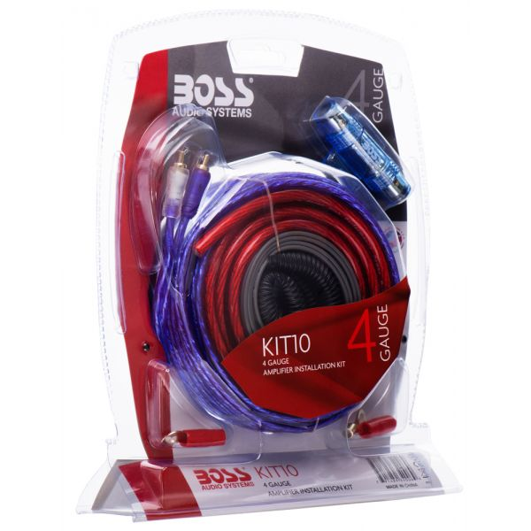 Boss Audio KIT10 4 Gauge, High Performance, Amplifier Installtion Kit with RCA Interconnect and Speaker Wire