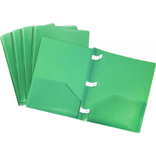 Storex Thicker Poly Green Two Pocket Folders with Plastic Prongs