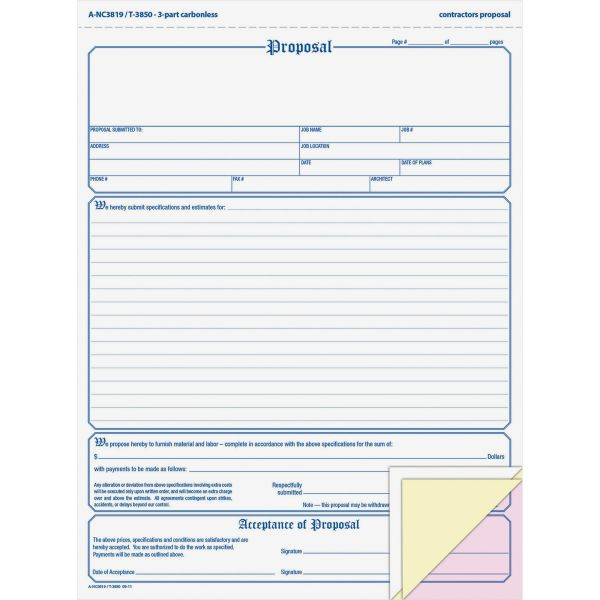 Adams Contractor Proposal Form, 3-Part Carbonless, 8 1/2 x 11 7/16, 50 Forms