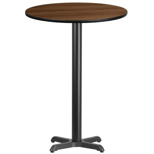 Flash Furniture 30'' Round Walnut Laminate Table Top with 22'' x 22'' Bar Height Table Base