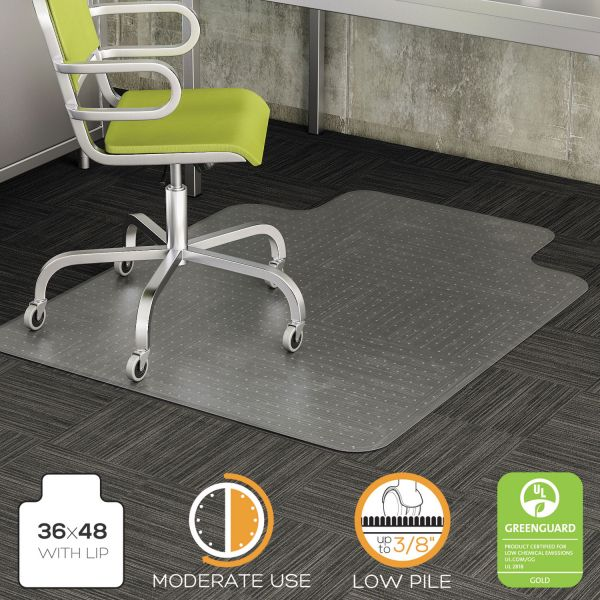 deflecto DuraMat Moderate Use Chair Mat, Low Pile Carpet, Roll, 36 x 48, Lipped, Clear