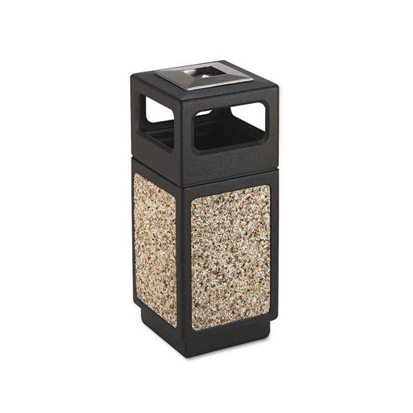 Safco Canmeleon Ash/Trash Receptacle, Square, Aggregate/Polyethylene, 15gal, Black