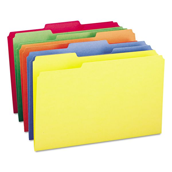 Smead File Folders, 1/3 Cut Top Tab, Legal, Assorted Colors, 100/Box