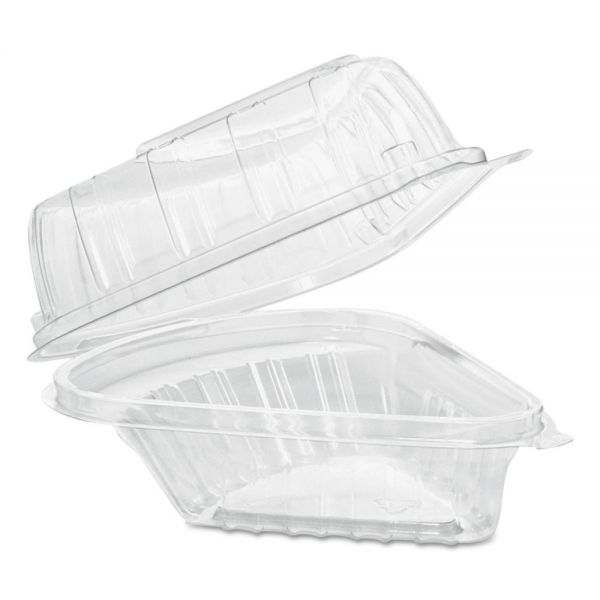 Dart Showtime Clear Hinged Containers, Pie Wedge, 6 2/3 oz, Plastic, 125/PK, 2 PK/CT