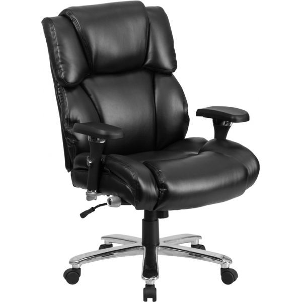 Flash Furniture HERCULES Series 24/7 Intensive Use, Big & Tall Leather Executive Swivel Chair with Lumbar Support Knob