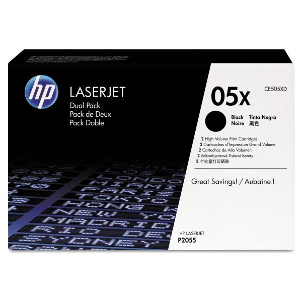 HP 05X Black High Yield Toner Cartridges (CE505XD)