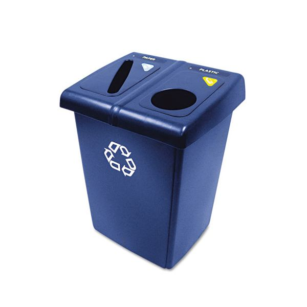 Rubbermaid Commercial Glutton Recycling Station, Two-Stream, 46 gal, Blue