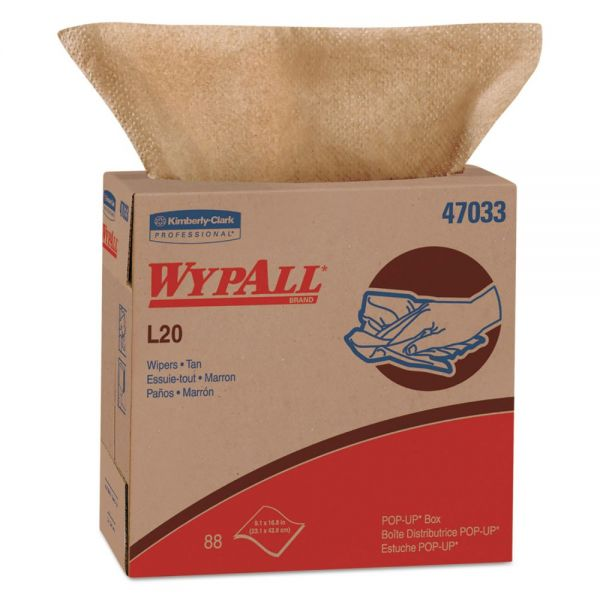 WypAll* L20 Towels, POP-UP Box, 2-Ply, 9 1/10 x 16 4/5, Brown, 88/Box, 10 Boxes/Carton