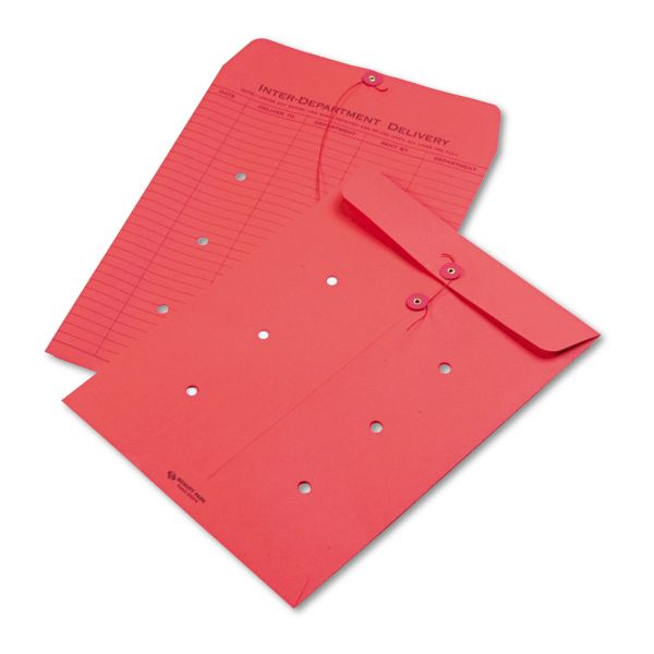 Quality Park Colored Paper String & Button Interoffice Envelope, 10 x 13, Red, 100/Box