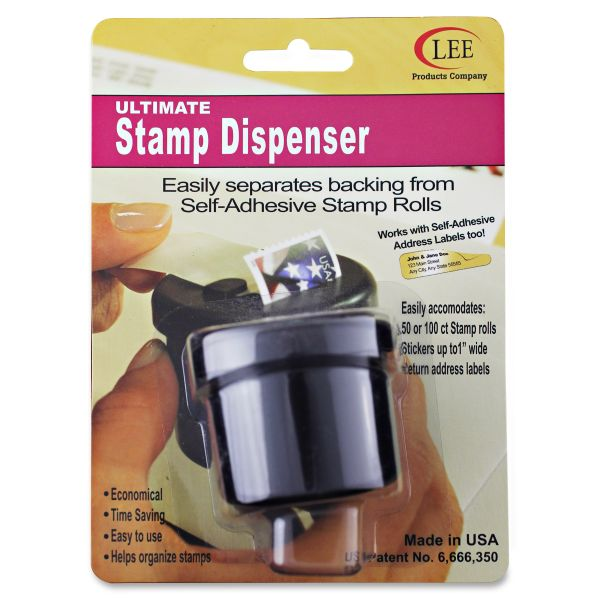 "LEE Ultimate Stamp Dispenser, One 100 Count Roll, Black, Plastic, 2"" Dia. X 1 11/16"""