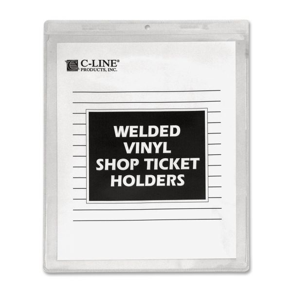 C-Line Clear Vinyl Shop Ticket Holder, Both Sides Clear, 50 Sheets, 9 x 12, 50/BX