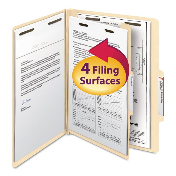 Smead Manila 1-Divider Classification Folders