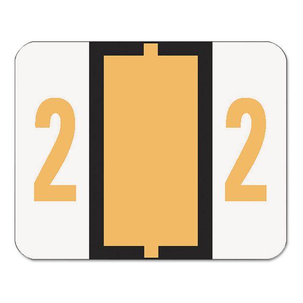 Smead Single Digit End Tab Labels, Number 2, Light Orange, 500/Roll