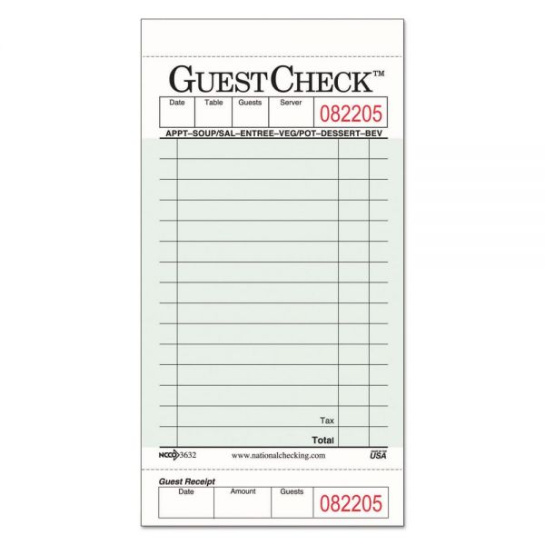 National Checking Company Guest Check Pads with Customer Receipt Stub