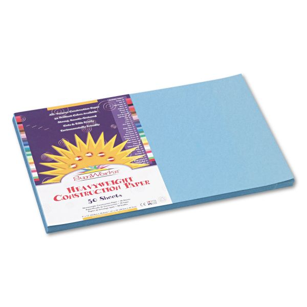 SunWorks Construction Paper, 58 lbs., 12 x 18, Sky Blue, 50 Sheets/Pack