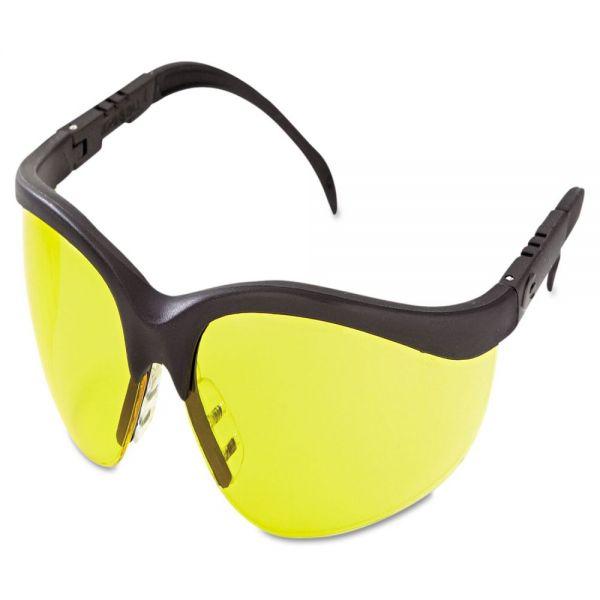 MCR Safety Klondike Protective Eyewear, Black Frame, Amber Lens