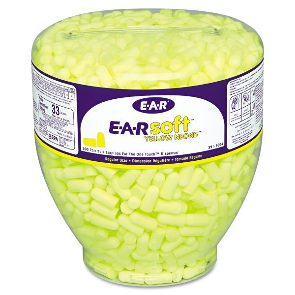 E·A·R E-A-Rsoft Neon Tapered Ear Plug Refill, Cordless, Yellow, 500/Bottle