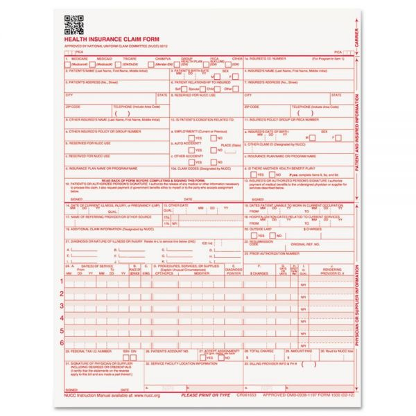 Paris Business Products CMS Forms, 8 1/2 x 11, 500 Forms