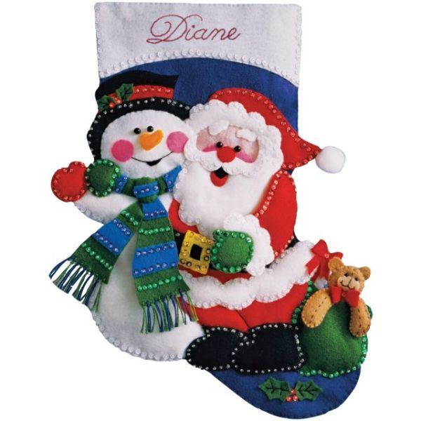 Santa & Snowman Stocking Felt Applique Kit