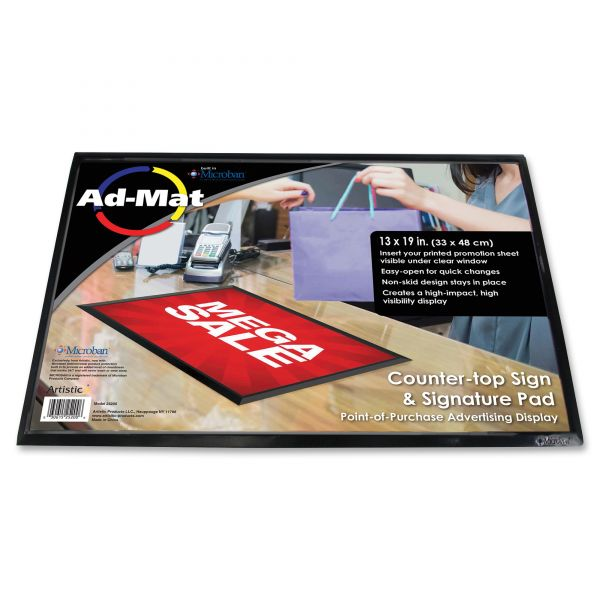 Artistic AdMat Counter-Top Sign Holder & Signature Pad, 13 x 19, Black Base