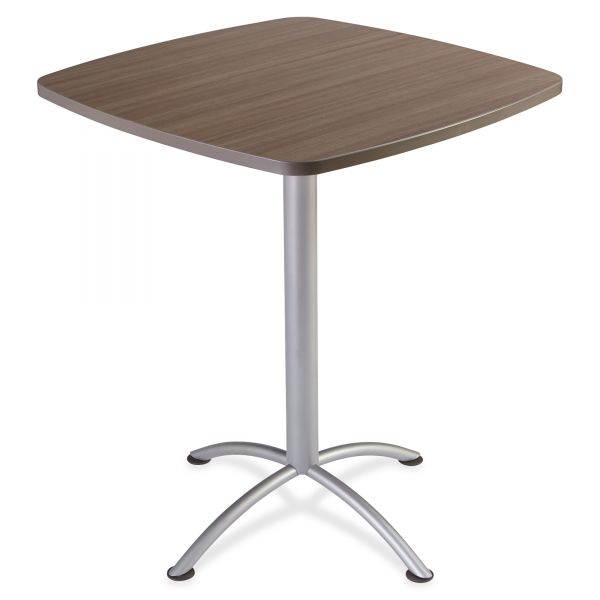 "Iceberg iLand Table, Contour, Square Bistro Style, 36"" x 36"" x 42"", Natural Teak/Silver"