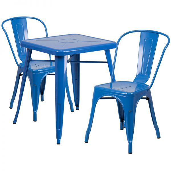 Flash Furniture 23.75'' Square Blue Metal Indoor-Outdoor Table Set with 2 Stack Chairs