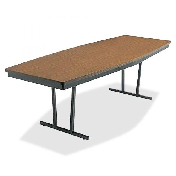"Barricks Economy ""Press-O-Matic"" Conference Folding Table, Boat, 96w x 36d x 30h, Walnut"