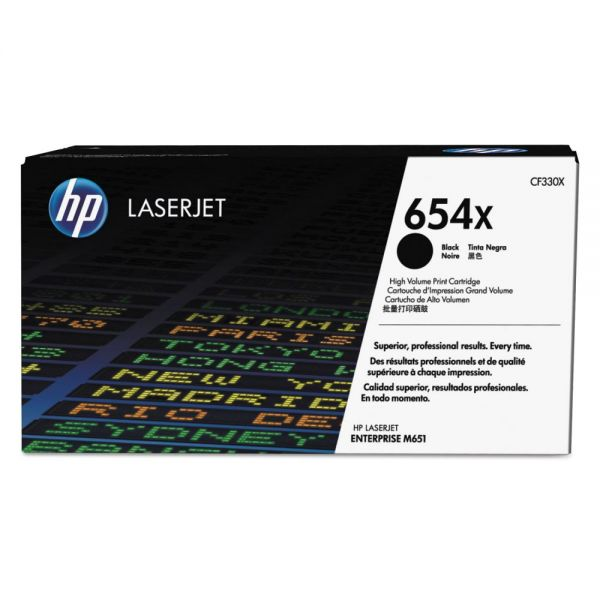 HP 654X Black High-Yield Toner Cartridge (CF330X)
