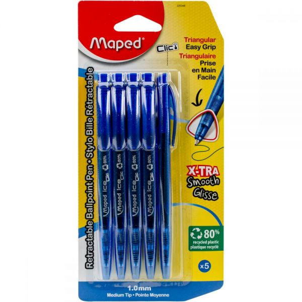Retractable Triangular Ballpoint Pen 5/Pkg