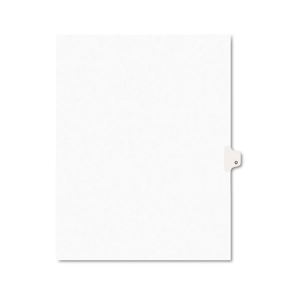 Avery-Style Legal Exhibit Side Tab Dividers, 1-Tab, Title O, Ltr, White, 25/PK