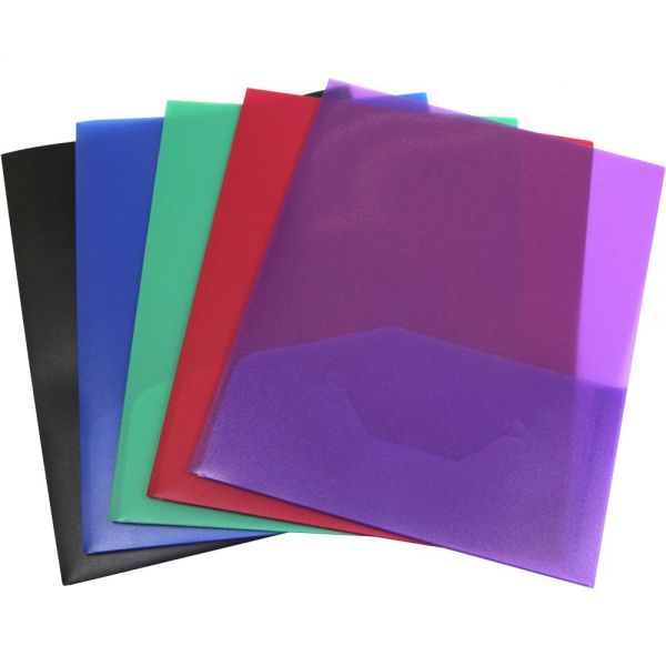 Storex Thicker Poly Two-Pocket Folders