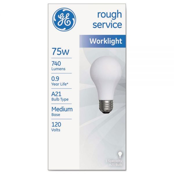 GE Rough Service Incandescent Worklight Bulb, A21, 75 W, 1230 lm