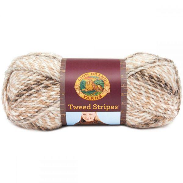 Lion Brand Tweed Stripes Yarn - Caramel