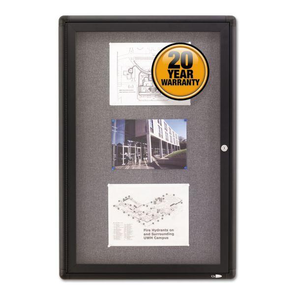 Quartet Enclosed Fabric-Cork Board, 24 x 36, Gray Surface, Graphite Aluminum Frame